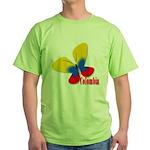 Cute Colombian Butterfly Green T-Shirt