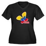 Cute Colombi Women's Plus Size V-Neck Dark T-Shirt