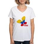 Cute Colombian Butterfly Women's V-Neck T-Shirt