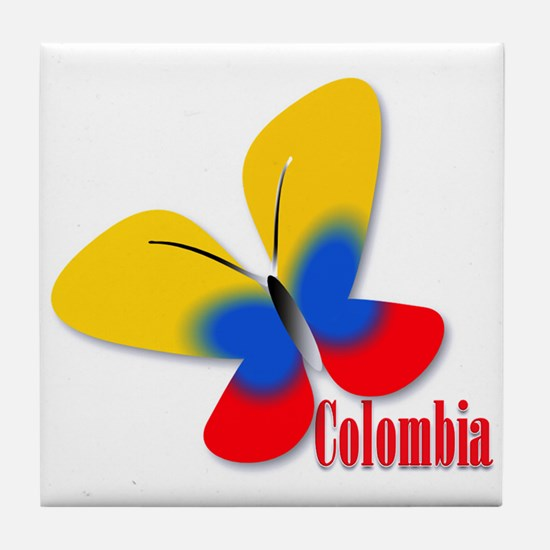 Cute Colombian Butterfly Tile Coaster