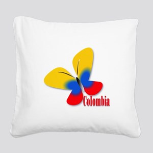 Cute Colombian Butterfly Square Canvas Pillow