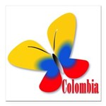 Cute Colombian Butterfly Square Car Magnet 3