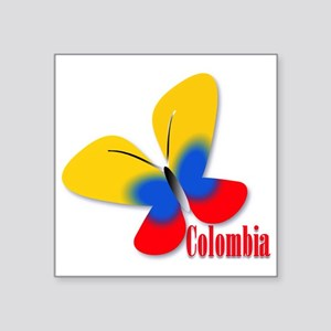 "Cute Colombian Butterfly Square Sticker 3"" x 3"""