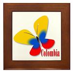 Cute Colombian Butterfly Framed Tile
