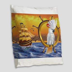 COCKATOO TREASURE QUEST Burlap Throw Pillow