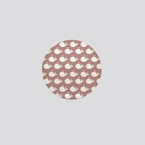 Rosy Brown and White Cute Whimsical Wh Mini Button