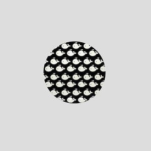 Black and White Cute Whimsical Whales Mini Button