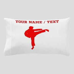 Red Karate Kick Silhouette (Custom) Pillow Case