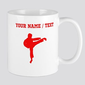 Red Karate Kick Silhouette (Custom) Mugs