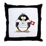 Switzerland Penguin Throw Pillow