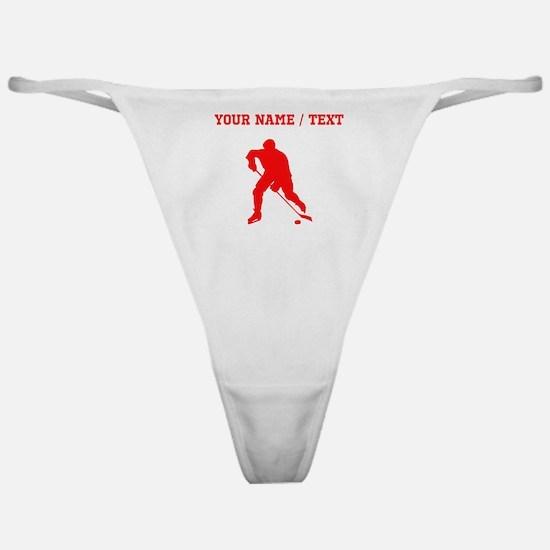 Red Hockey Player Silhouette (Custom) Classic Thon