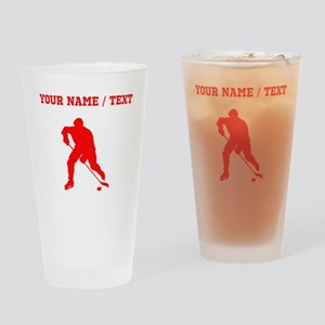 Red Hockey Player Silhouette (Custom) Drinking Gla