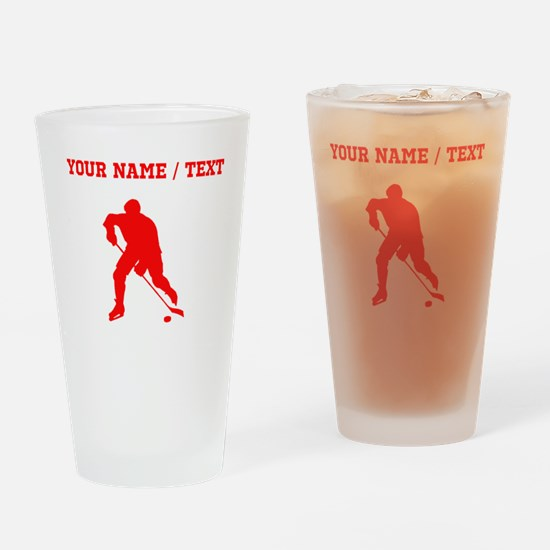 Red Hockey Player Silhouette (Custom) Drinking Gla