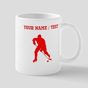 Red Hockey Player Silhouette (Custom) Mugs