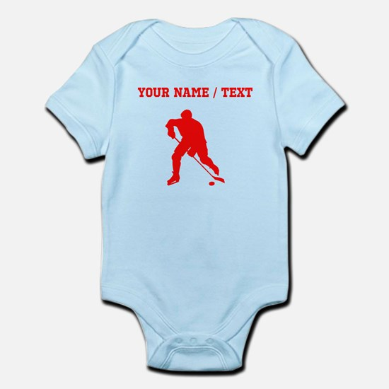 Red Hockey Player Silhouette (Custom) Body Suit