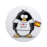 Spain Penguin Ornament (Round)