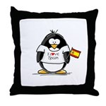 Spain Penguin Throw Pillow