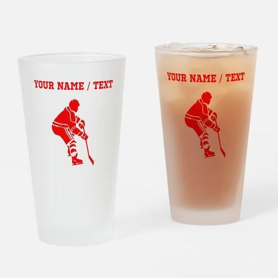 Red Hockey Player (Custom) Drinking Glass