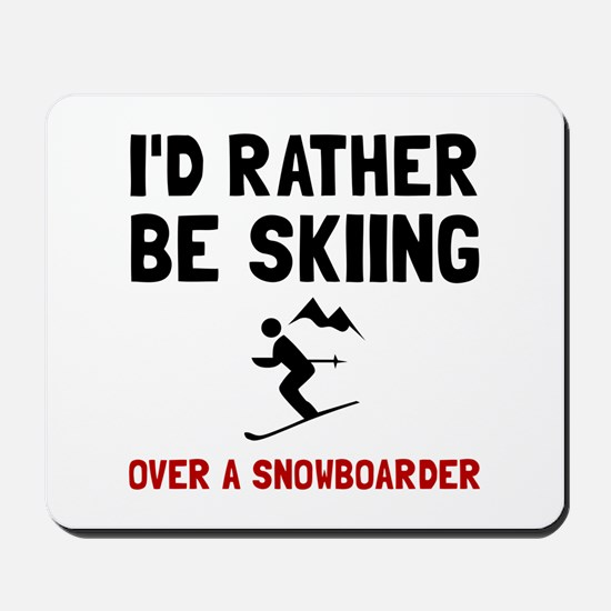 Skiing Over Snowboarder Mousepad