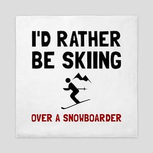 Skiing Over Snowboarder Queen Duvet