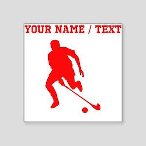 Red Field Hockey Player Silhouette (Custom) Sticke
