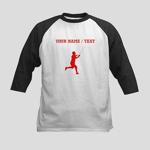 Red Fencer Silhouette (Custom) Baseball Jersey