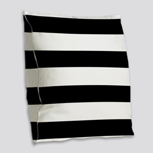 modern black white stripes Burlap Throw Pillow