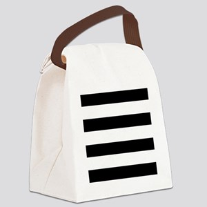 modern black white stripes Canvas Lunch Bag