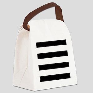 modern black white stripes Canvas Lunch Bag