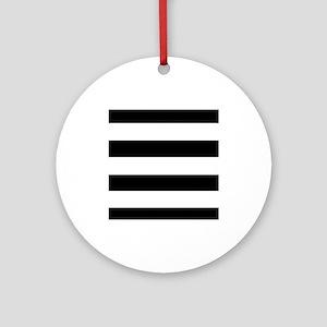 modern black white stripes Round Ornament