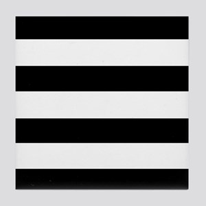 modern black white stripes Tile Coaster