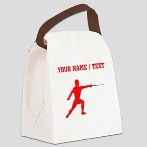 Red Fencer Silhouette (Custom) Canvas Lunch Bag