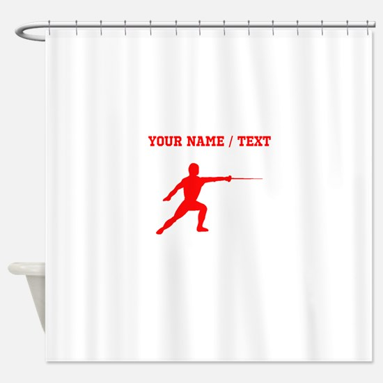 Red Fencer Silhouette (Custom) Shower Curtain
