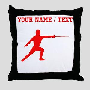 Red Fencer Silhouette (Custom) Throw Pillow