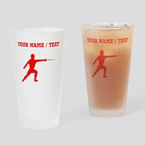 Red Fencer Silhouette (Custom) Drinking Glass