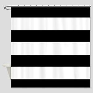 modern black white stripes Shower Curtain
