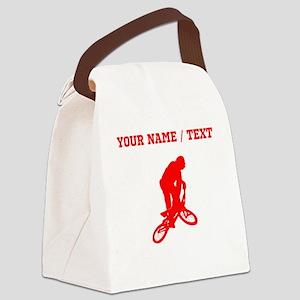 Red BMX Biker Silhouette (Custom) Canvas Lunch Bag