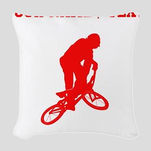 Red BMX Biker Silhouette (Custom) Woven Throw Pill