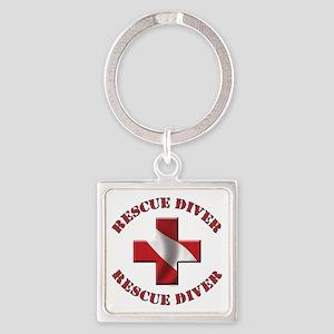 Rescue Diver Square Keychain