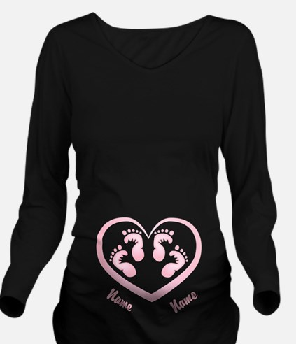 Girl Twin Footprints Heart CUSTOM Baby Name Long S