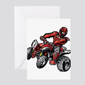 Red ATV Quad Guy Greeting Cards