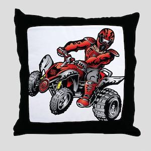 Red ATV Quad Guy Throw Pillow