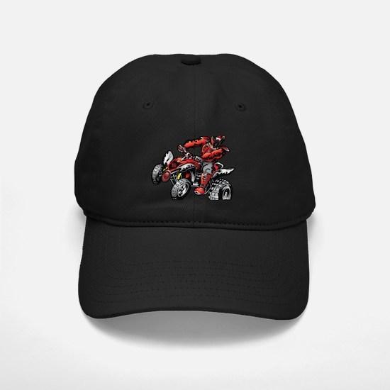 Red ATV Quad Guy Baseball Hat
