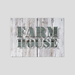barn wood farmhouse 5'x7'Area Rug