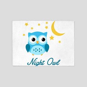 Night Owl (Blue) 5'x7'Area Rug