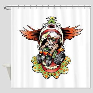 Clownin' Skully Quad Rider Shower Curtain