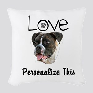 Boxer Love Personalized Woven Throw Pillow