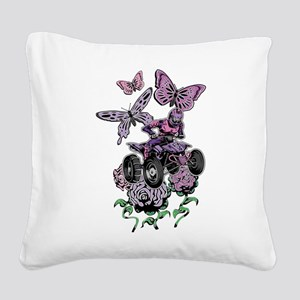 Butter-Flowered Quad Square Canvas Pillow