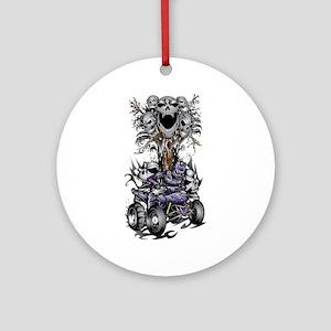 Skull-Tree Quad Style Purple Ornament (Round)