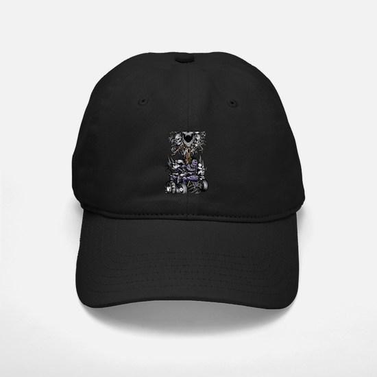 Skull-Tree Quad Style Purple Baseball Hat